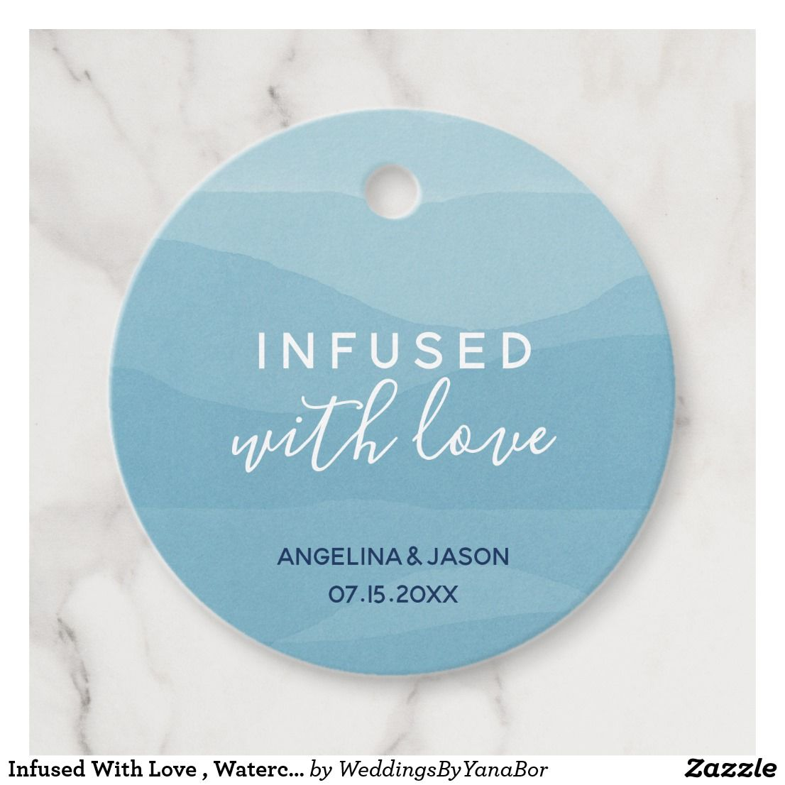 Infused With Love , Watercolor Blue Waves Wedding Favor