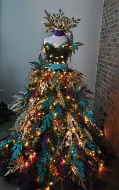 christmas tree dress ballgown by a ribbon runs through it 800 lights and a lighted train christmas decor mixed with fashion - Lighted Train Christmas Decoration