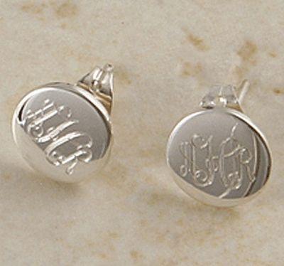 Sterling Silver Pee Round Monogrammed Stud Earrings