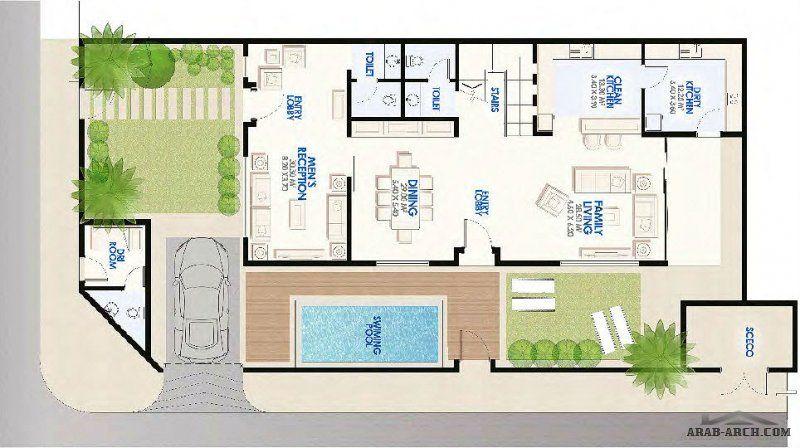 فيلا باڨيليون طراز B2 مساحه الارض 313 متر مربع House Plans Floor Plans House