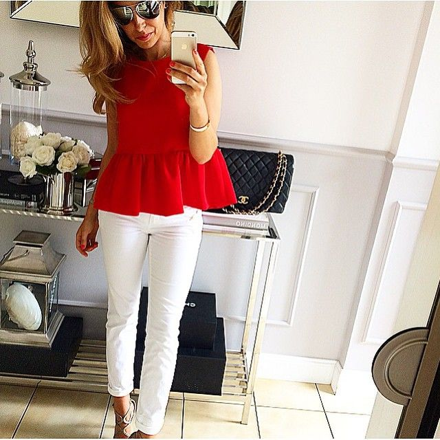 Red peplum top white trousers
