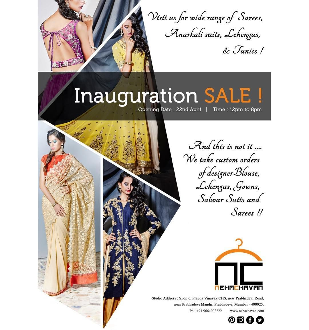 We bet you cannot miss this one! Flat 15% off on all Tunics Kurtas Anarkalis Gowns and Lehengas ! Come over this weekend to grab the best for yourself! Saturday : 1pm to 8pm Sunday: 11am to 8pm #NC #NehaChavan #fashion #designerwear #designer #designstudio #storelaunch #newstore #inauguration #SALE #fashionatyourdoorstep #walkinwardrobe #festivewear #bridalwear #tunics #anarkalisuit #lehengacholi #gowns #indianwear #instapic #instalove #picoftheday #shoptillyoudrop