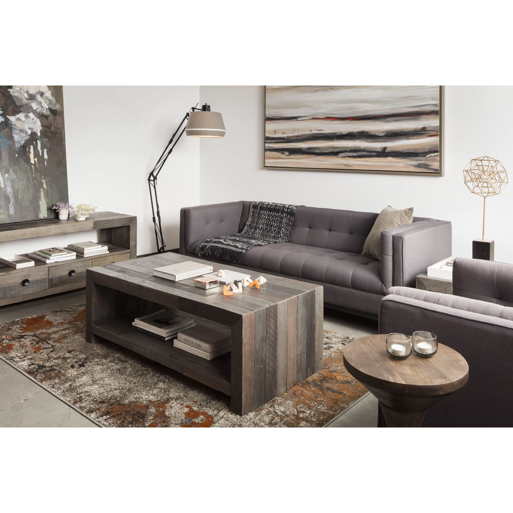 Aurelle Home Distressed Vintage Wash finish Coffee Table