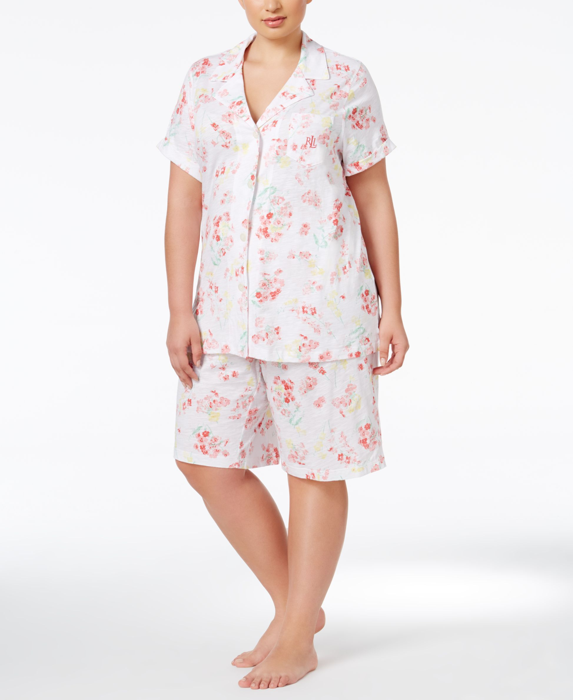Lauren Ralph Lauren Plus Size Floral-Print Top and Bermuda Shorts Pajama Set  - Lingerie & Shapewear - Women - Macy's