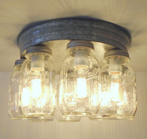 Rustic Mason Jar Ceiling Light Fixture Flush Mount Kitchen