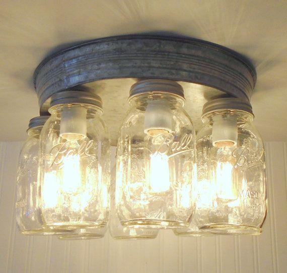 Rustic Mason Jar CEILING LIGHT Fixture Flush Mount Kitchen ...