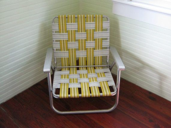 Vintage Lawn Chair    Folding Aluminum Yard Chair With Webbing    Yellow  Picnic Chair