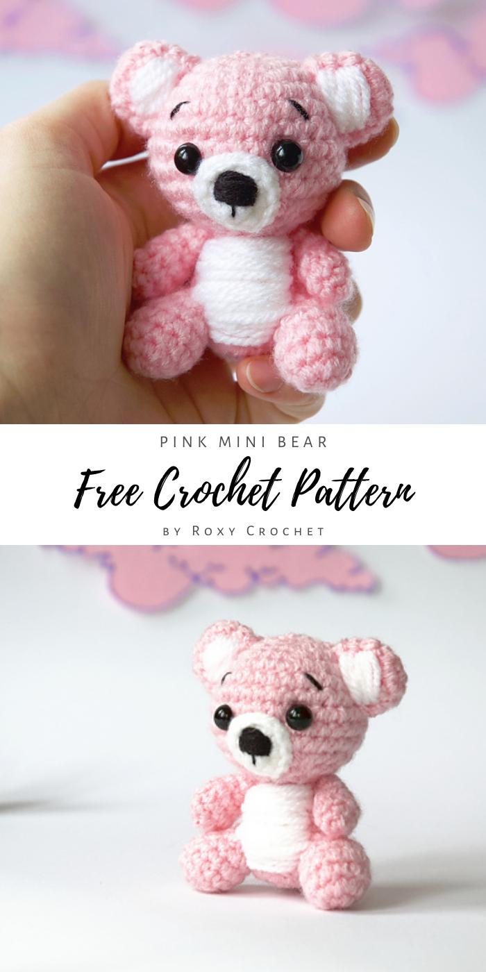 Pink Mini Bear Amigurumi, Free Crochet Pattern by Roxy's Crochet – Crochet