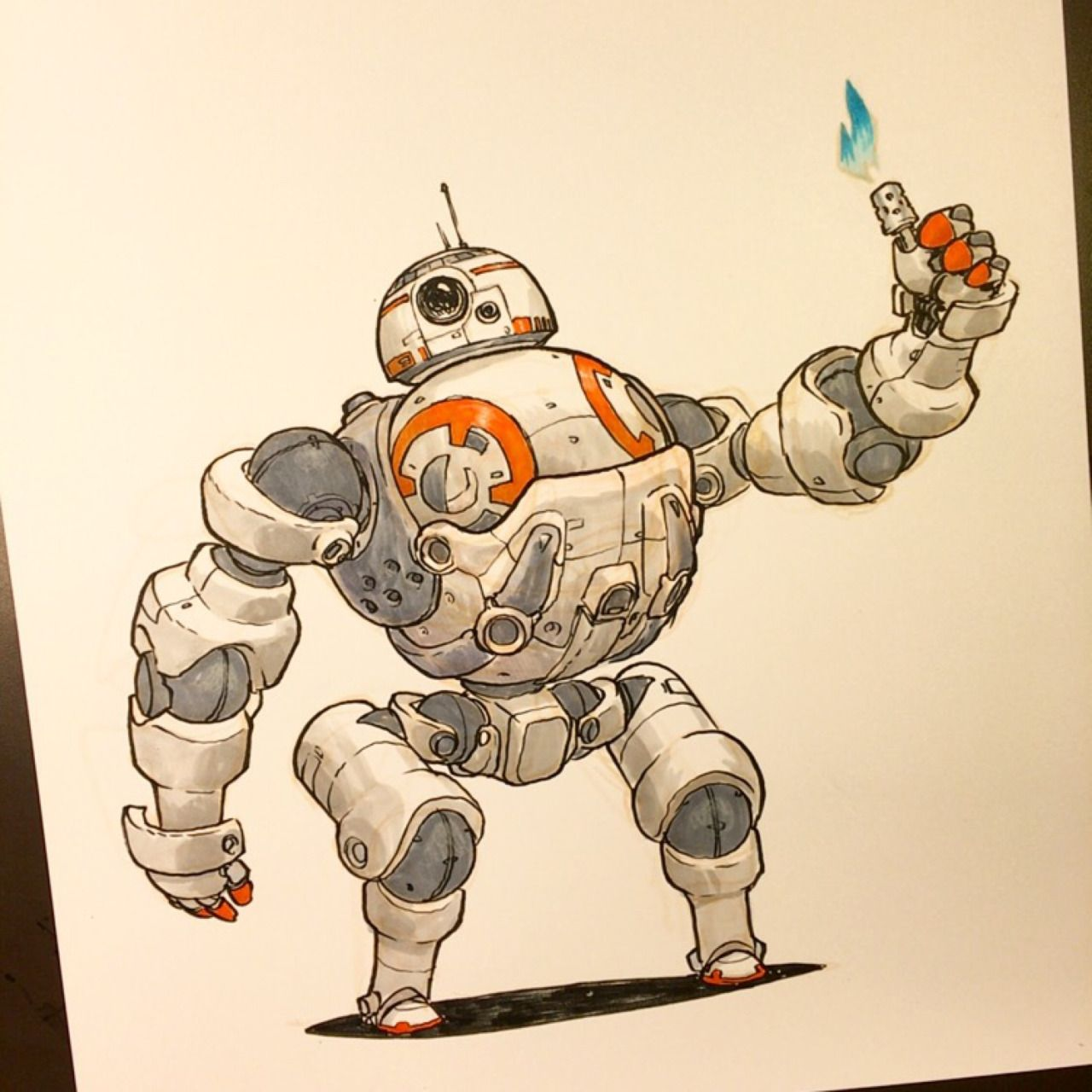 Mrjakeparker bb 8 just loves his new mech suit happy star wars day everyone sci fi - Robot blanc star wars ...