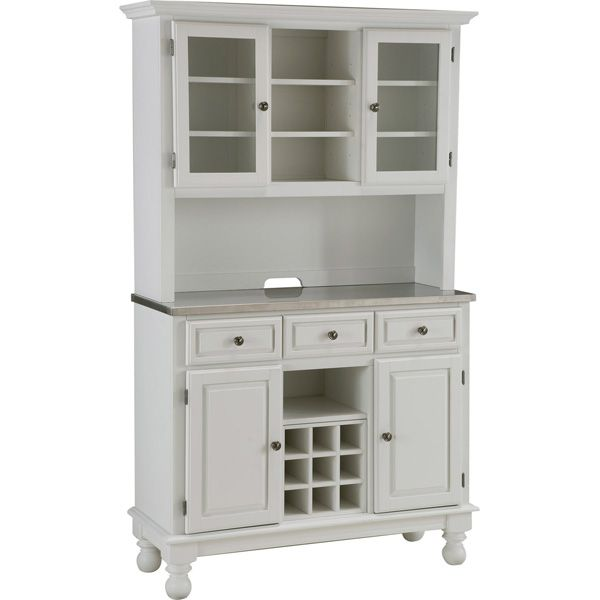 Home Styles Premium Kitchen Buffet And Hutch With Stainless Steel Top