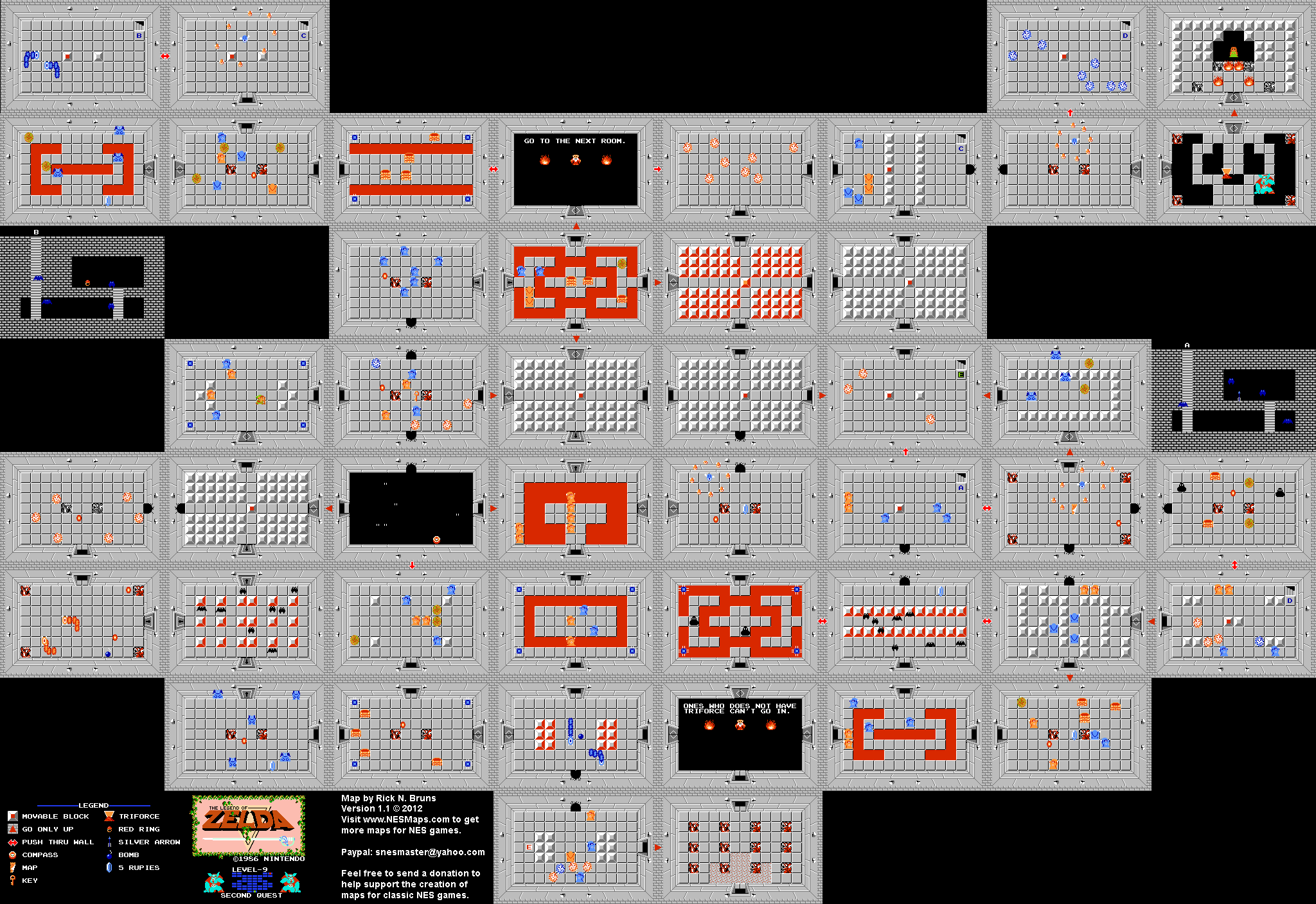 The Legend of Zelda - Level 9 Quest 2 - NES Map | ~ Gabe\'s Board ...