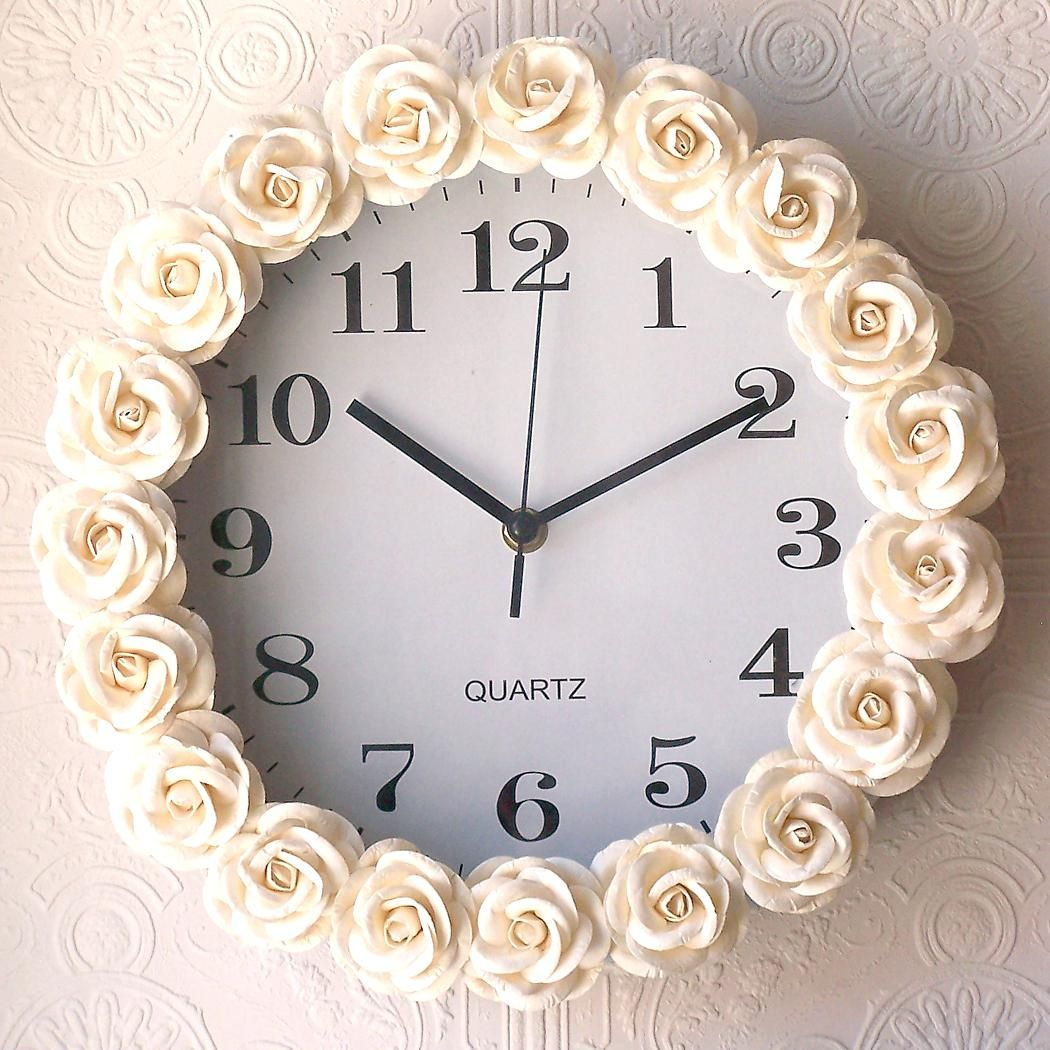 Easy Rosette Wall Clock Soften A Room Gluing Silk Roses To A