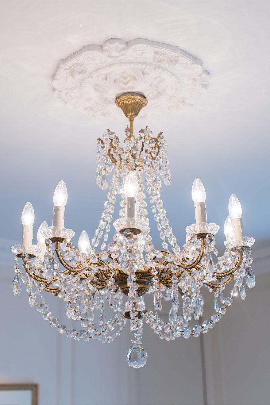 Crystal Chandelier In A Paris Bedroom Paris Bedroom Crystal
