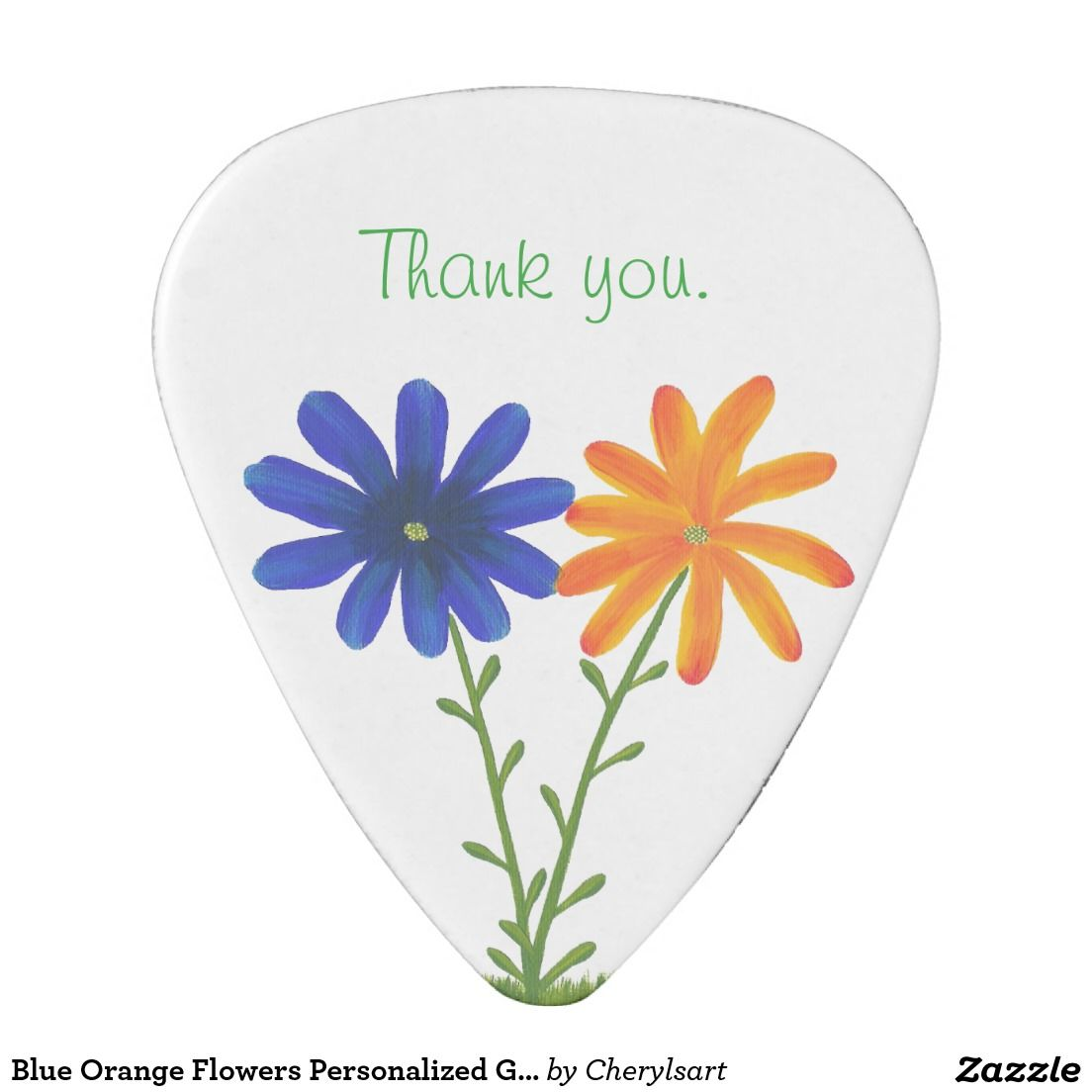 Blue Orange Flowers Personalized Guitar Picks Guitar Pick Wedding