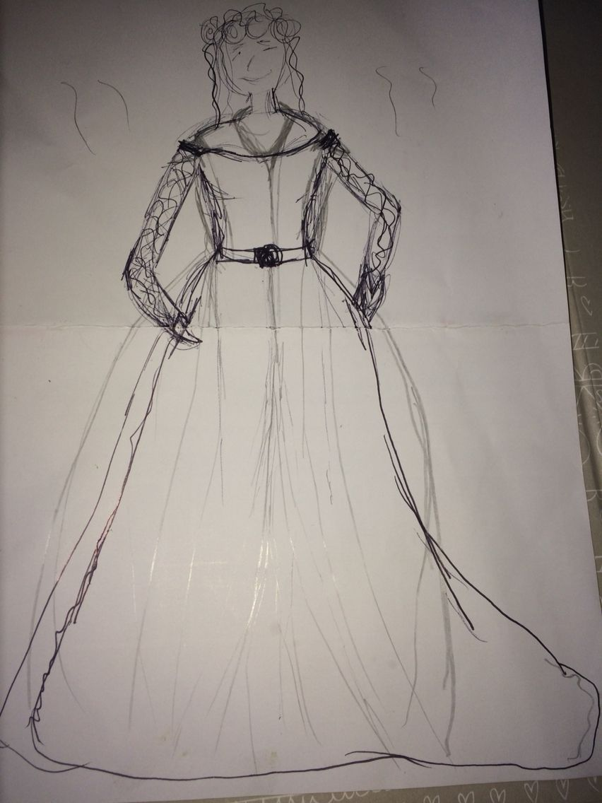 A terrible sketch.  Pencil indicates the jacket.