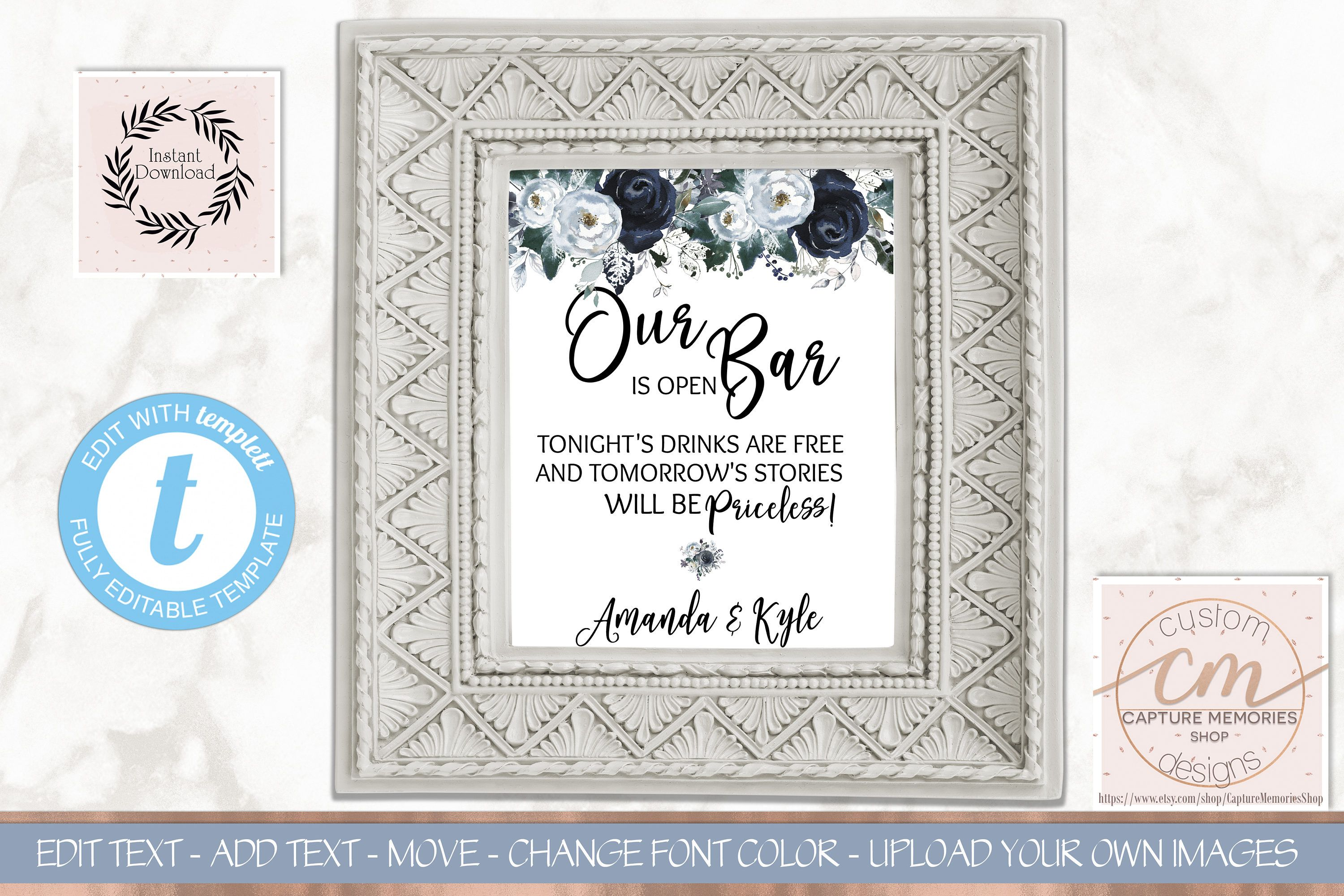 Open bar wedding sign template8x10 floral wedding bar signnavy open bar wedding sign template8x10 floral wedding bar signnavy dusty blue floral solutioingenieria Gallery
