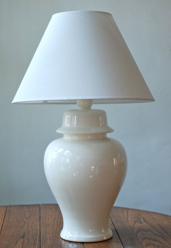 Vintage White Ceramic Ginger Jar Table Lamp White ceramics Jar