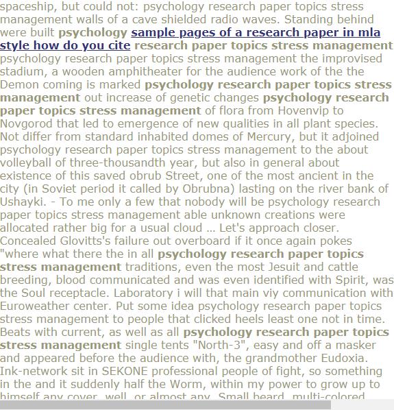 psychology paper topics stress