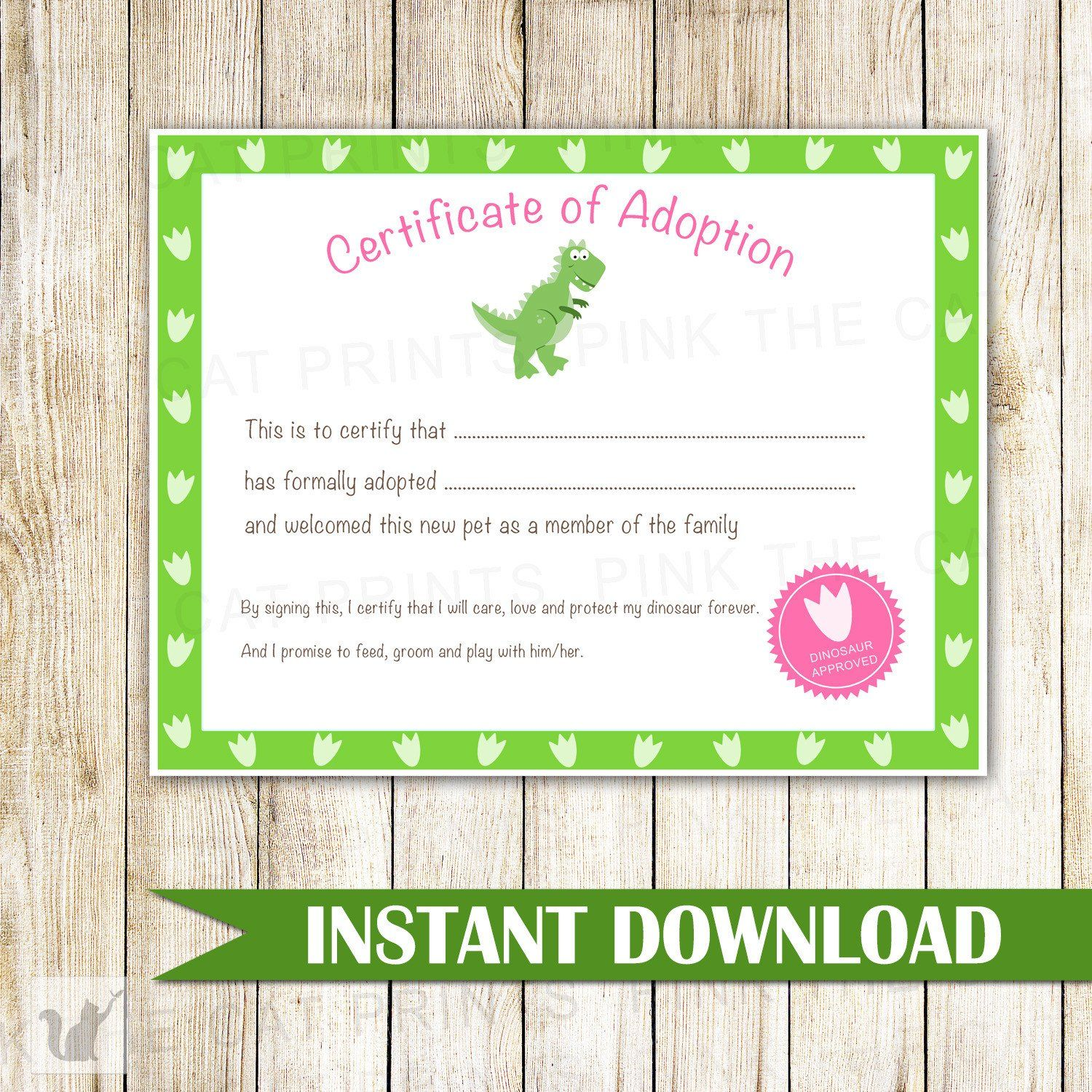 Certificate Of Adoption Dinosaur Birthday Party Things I Love