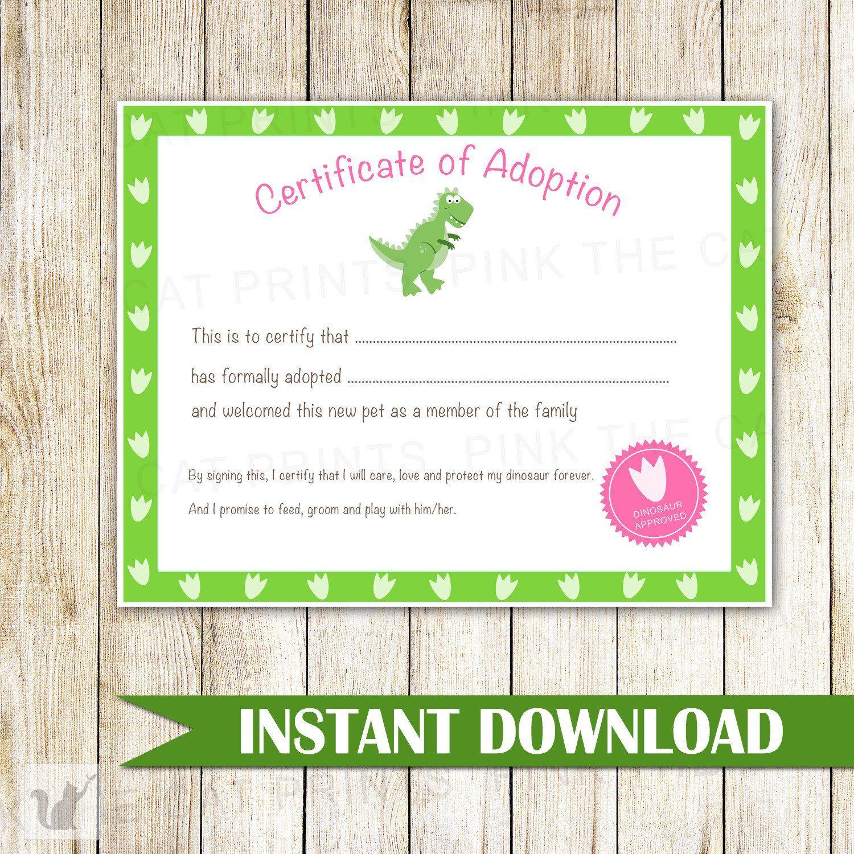 Certificate Of Adoption Dinosaur Birthday Party Dinosaur Birthday