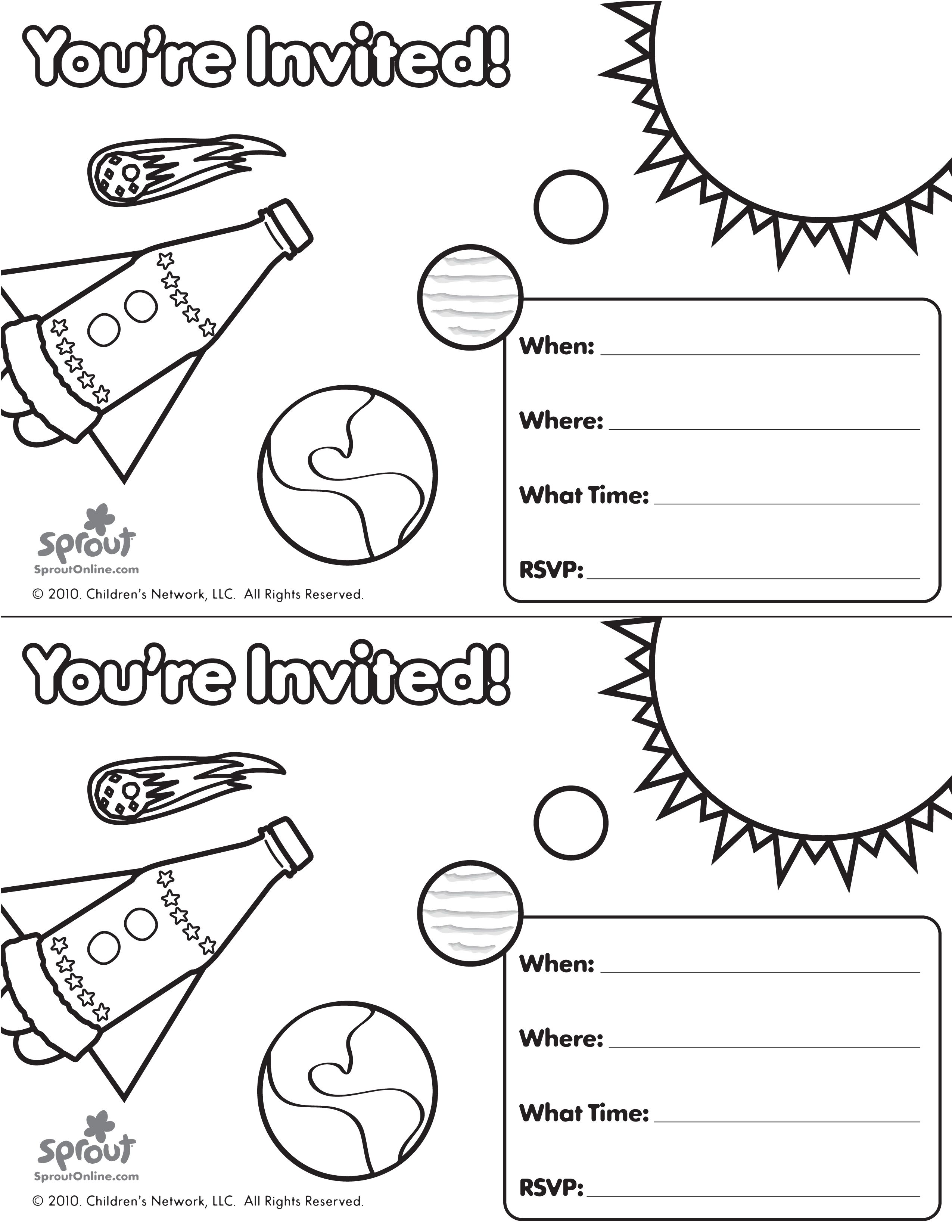 Solar system party invitation to color raising kids pinterest solar system party invitation to color stopboris Image collections
