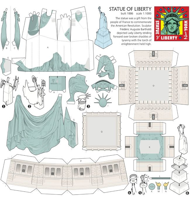 statue of liberty miniature model dover cameo schnitte pinterest ausdrucken. Black Bedroom Furniture Sets. Home Design Ideas
