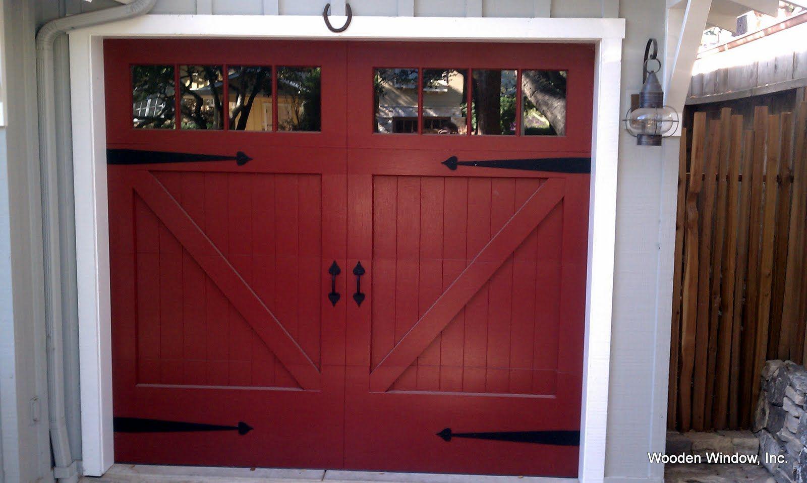 Garage door windows that open  Like detail color and style of door  Mountain Home ideas