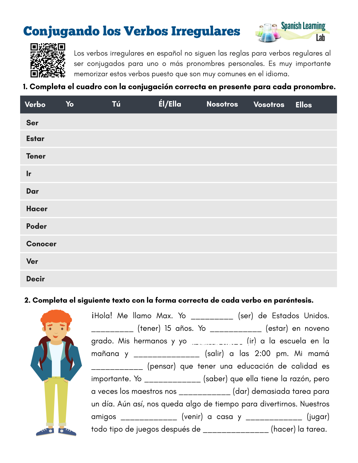 Conjugating Irregular Verbs In Spanish Pdf Worksheet Spanish Worksheets Spanish Classroom Activities Irregular Verbs