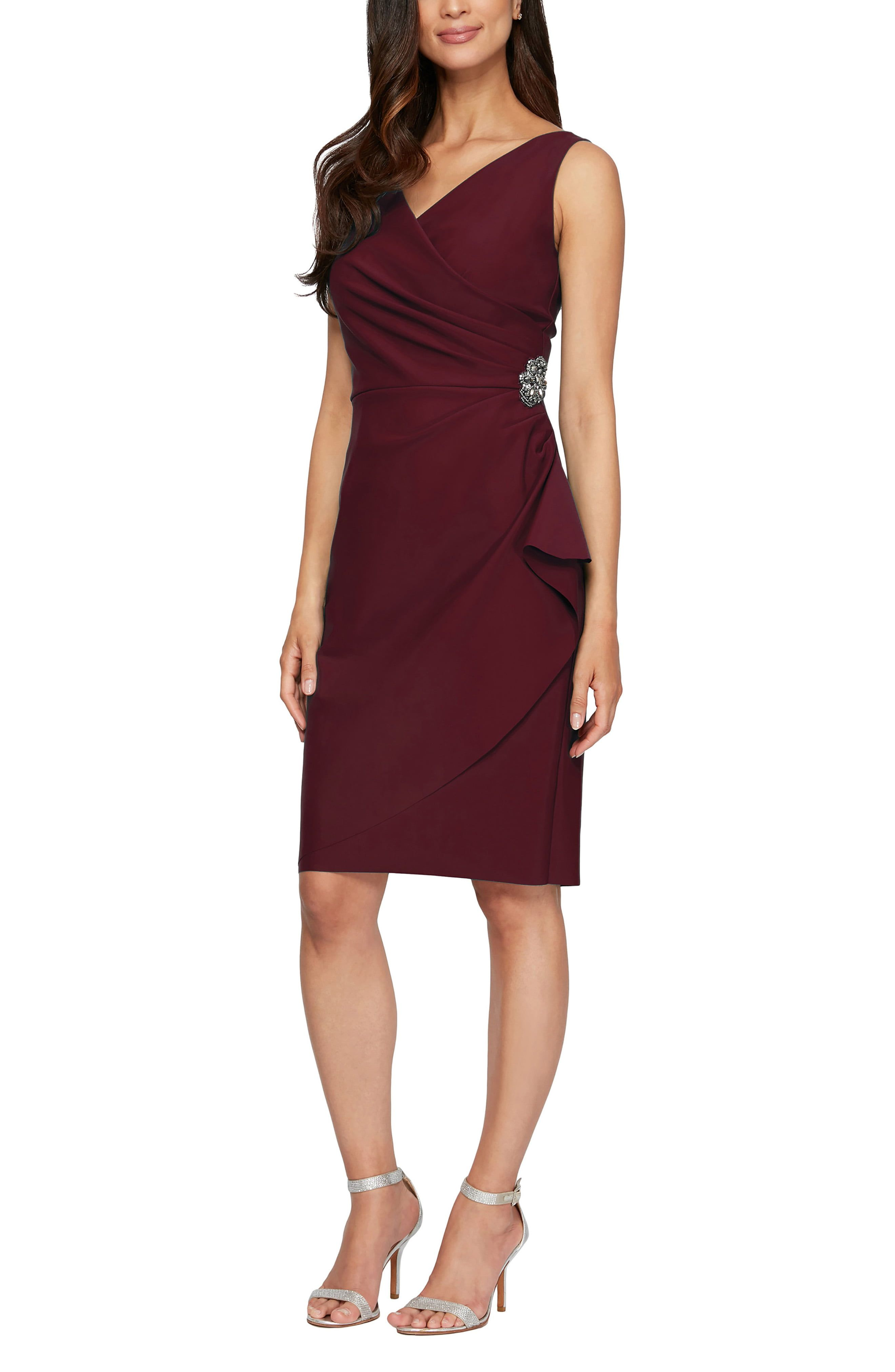 Elegant ruching gathers to a sparkling ornament at the side to create the faux-wrap silhouette of a chic dress with subtle compression designed to flatter. Style Name:Alex Evenings Side Ruched Cocktail Dress (Regular & Petite). Style Number: 1123772_26. Available in stores.
