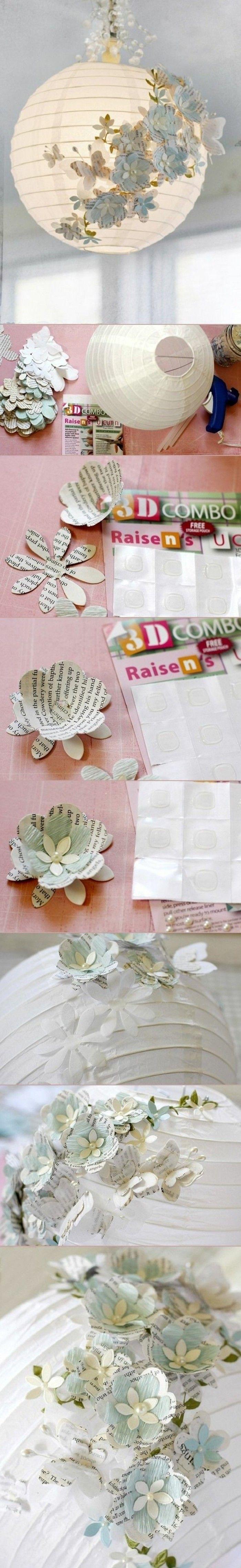 Diy Moebel Kreative Wohnideen Kronleuchter Mit Blumen Aus Papier Dekorieren