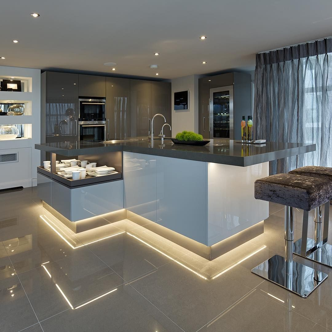 Bringing Back A Fan Favourite From 2018 This Two Tone Grey And White High Gloss Kitchen With Built Luxury Kitchen Design Luxury Kitchens Modern Kitchen Design
