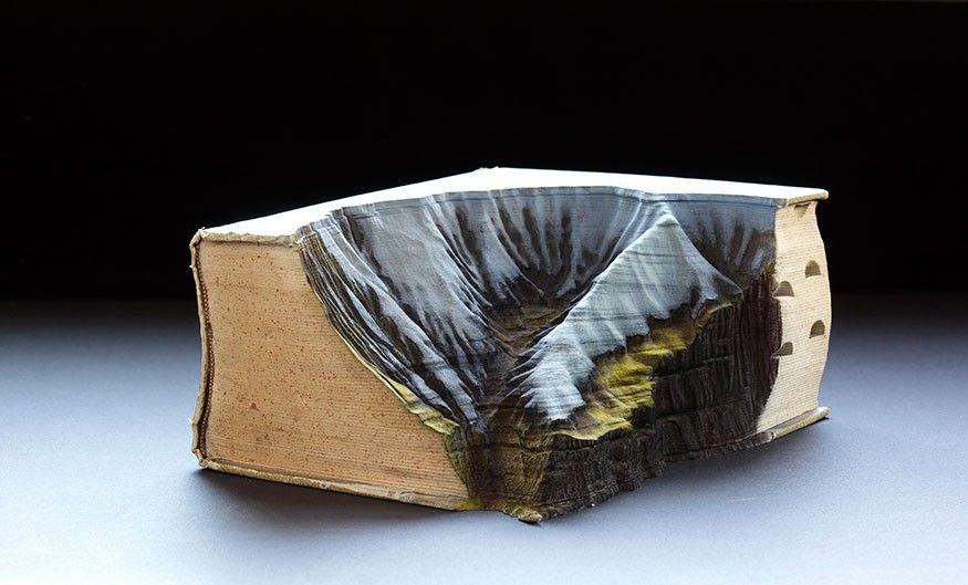 Irazu by Guy Laramée (2015. Carved book, inks, pigments, wax.)