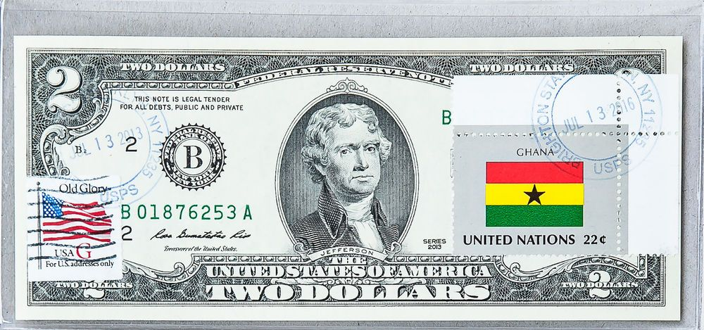 Two Dollar Bill National Currency Note Paper Money US Gem Unc Stamped Flag Ghana