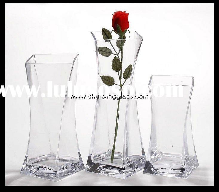 12 Gem Block Clear Glass Vase Centerpiece Vases Centerpiece Vases