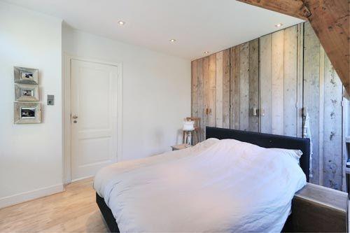 slaapkamer met hout interieur inrichting tapet huset pinterest