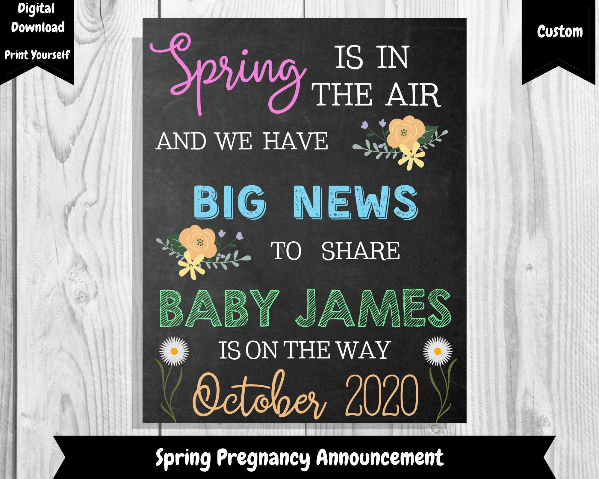 Baby # 2 Is On The Way  Printable Digital Download Mom is Due with Baby 2- Photo Prop Personalize Pregnancy Announcement sign