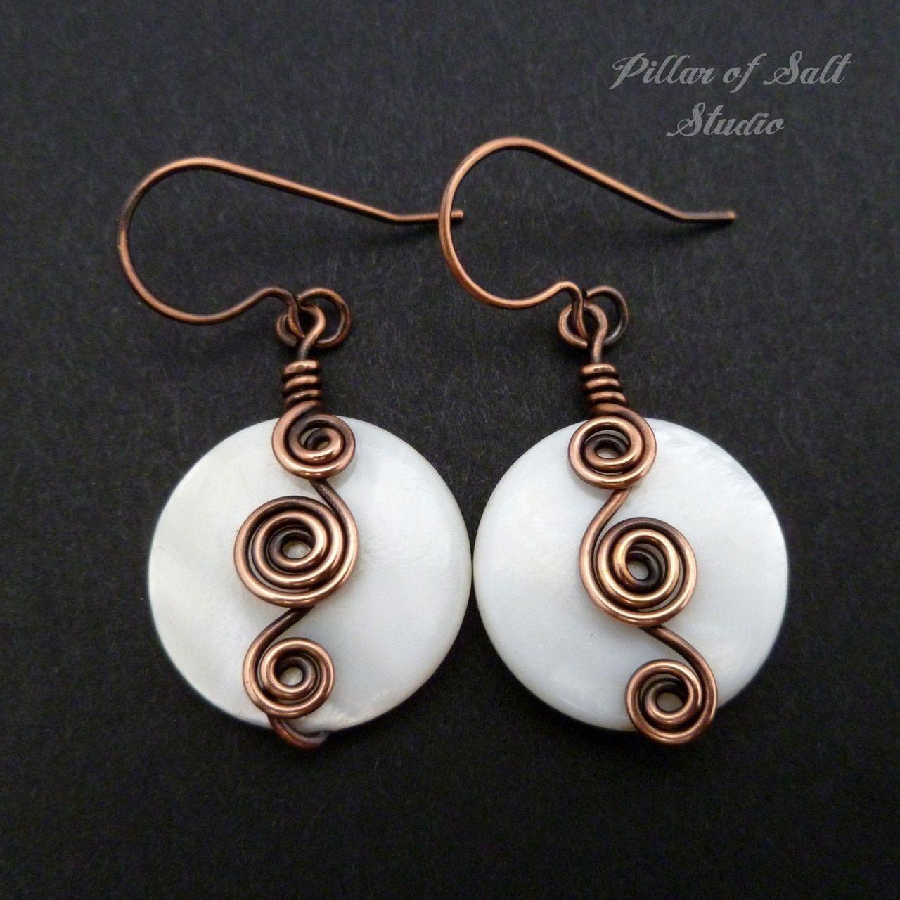 copper wire wrapped earrings jewelry by Pillar of Salt Studio #wirejewelry #diyhomedecor