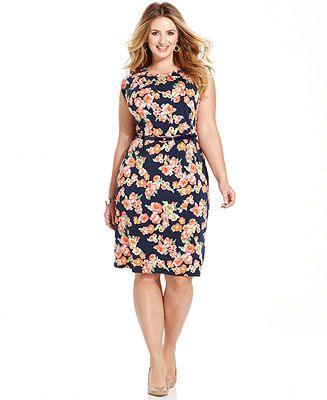 Charter Club Plus Size Cap Sleeve Floral Print Dress Plus Size
