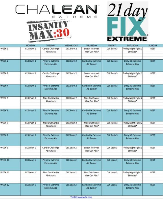 CLX 21 Day Fix Extreme Insanity Max 30 Hybrid Schedule – Chalean Extreme Worksheets