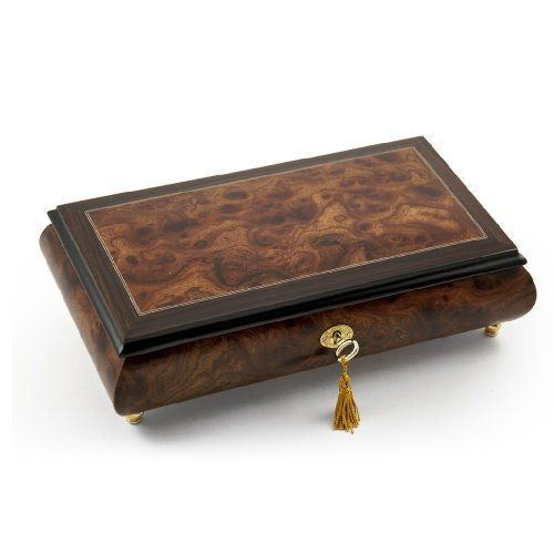 Elegant Classic Style Wood Tone Musical Jewelry Box with Lock and Key with 18 Note Tune-My Funny Valentine (Lorenz Hart/Richard Rogers)