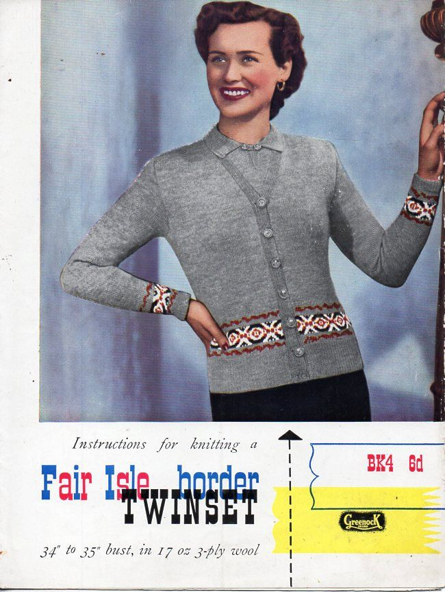 ladies fair isle twin set knitting pattern pdf download womens ...