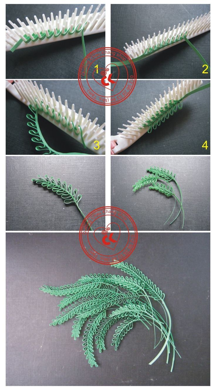 How to quill fern-like leaves with a comb.