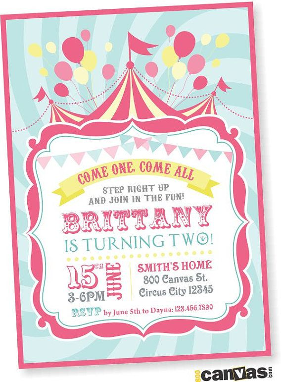 circus birthday invitation girls