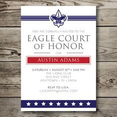 Instant Download Eagle Scout Court Of Honor Custom Invitation