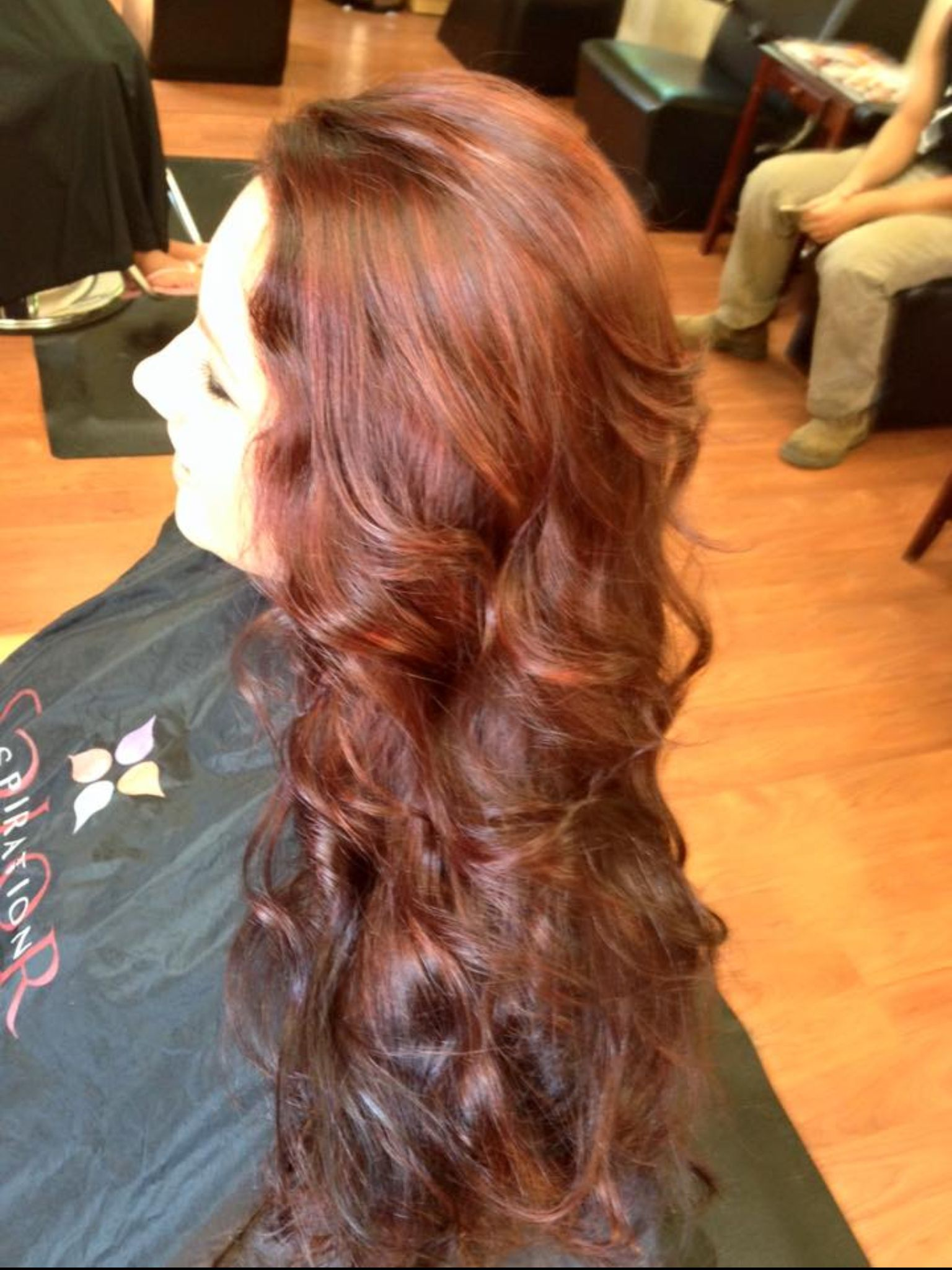 Long layer with multi copper highlights hair expressions with
