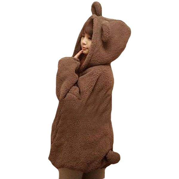 Womens Cute Hooded Long Sleeve Bear Sweatshirt Brown (1.210 RUB) ❤ liked on Polyvore featuring tops, hoodies, brown, long sleeve tops, hooded top, bears hoodies, long sleeve hoodies and brown hoodies