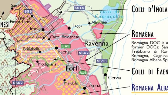 Detail of DE Longs Wine Map of Italy This map covers the whole of