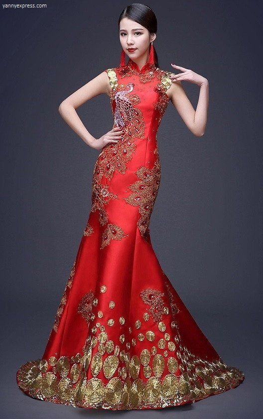 Chinese Wedding Sequin Lace Phoenix Qipao Gown Yannyexpress 1