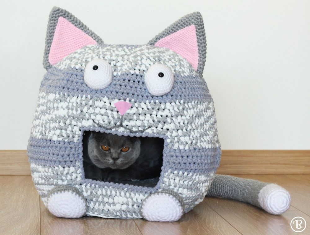PATTERN: Crochet Cat Bed Cave Kitty Kat House T Shirt Yarn | Höhle ...