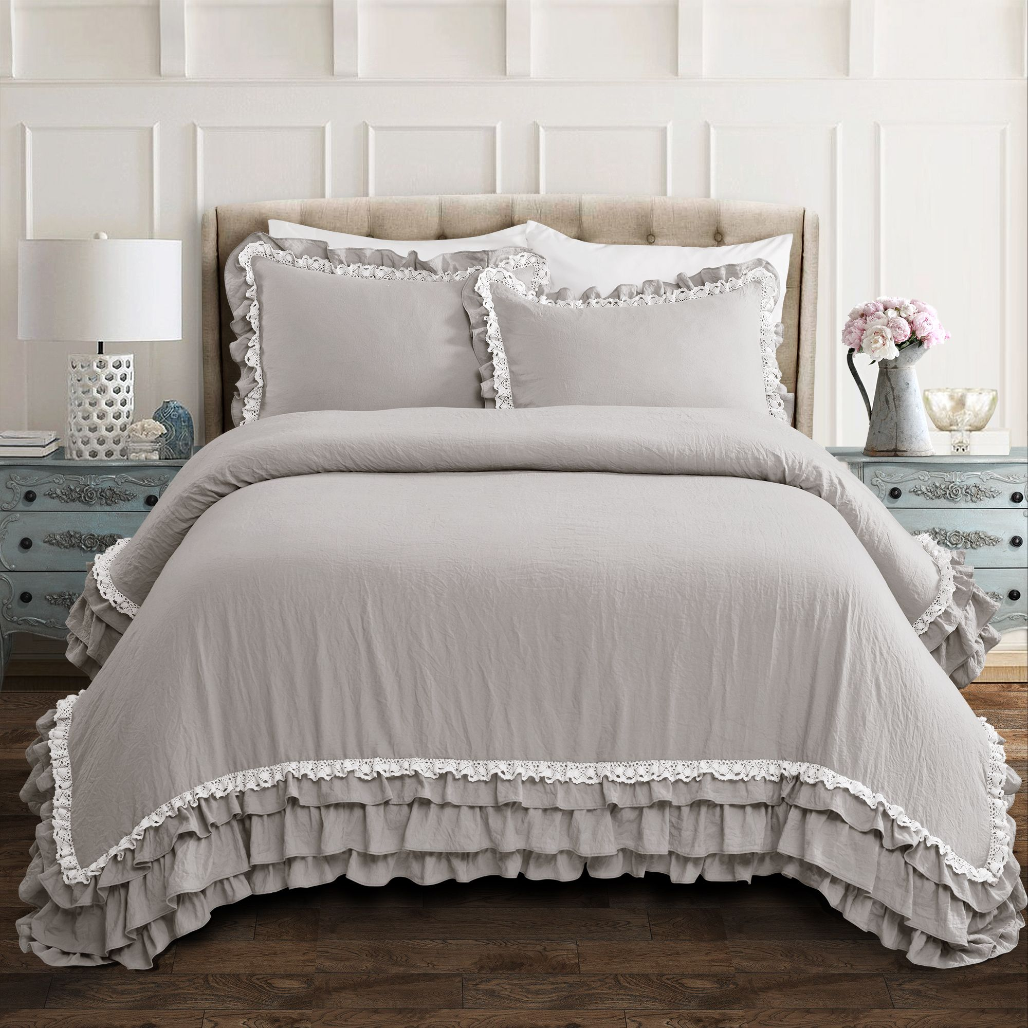 Ella Shabby Chic Ruffle Lace 3 Piece Comforter Set Lush Bedrooms